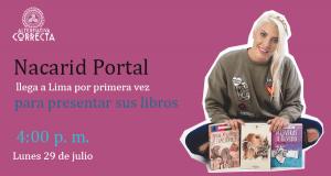 Nacarid Portal llega por primera vez al Perú para presentar sus libros en la 24° Feria Internacional del Libro